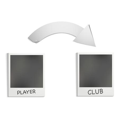transfers: Illustration on the theme of football transfers. Stock Photo
