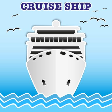 Illustration of sea cruise passenger liner. Background of trendy style with paper applications is and origami. illustration