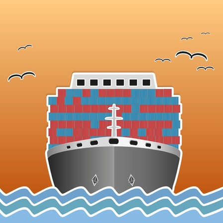 Illustration of a cargo ship traveling. Background of trendy style with paper applications is and origami. Vector, editable and isolated. illustration