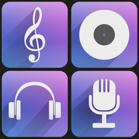 Basic sound music Flat simple icon set for Web and Mobile Application. Illustration of checkpoint. Vector, editable and isolated. Vector