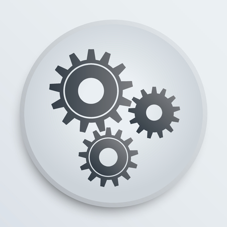 The symbol of technology gears on a white icon. Flat simple design. Stock Vector - 23211475