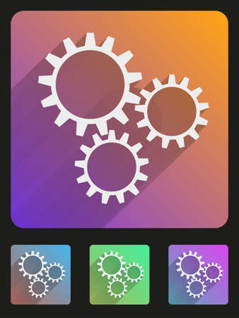 Basic mechanic gears simple Flat icon set for Web and Mobile Application. Illustration of technology. Vector, editable and isolated. Stock Vector - 23258507