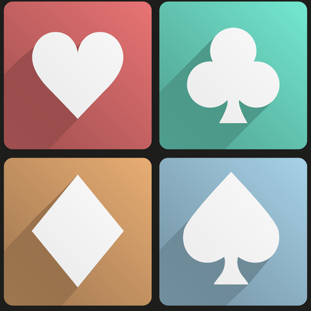playing cards: Basic playing cards suit simple Flat icon set for Web and Mobile Application. Illustration of gambling. Vector, editable and isolated.
