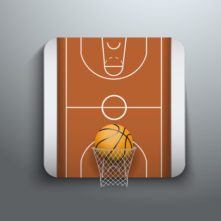 Basketball symbol, basket, court and ball. Vector illustration icons, isolated and editable. Vector