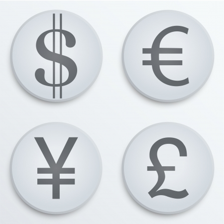 Currency icons symbol dollar, euro, yen, pound. Business finance vector Illustration. Concept of money. Isolated and editable. Vector