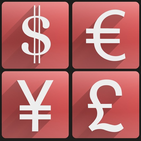 foreign exchange: Currency icons symbol dollar, euro, yen, pound. Business finance vector Illustration. Concept of money. Isolated and editable.