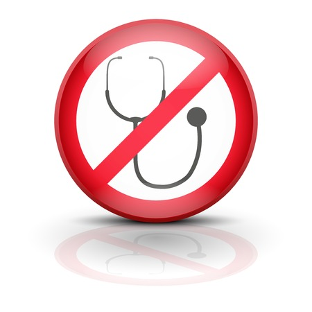 Symbol stethoscope. Sign ban wiretapping, surveillance and espionage. No supervision, no prosecution, no spyware. Vector illustration, editable and isolated. Stock Vector - 23463833