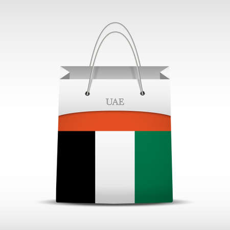 unites: Shopping bag with Unites Arabian Emirates flag. Retail business vector object. Service and sale illustration. Symbol isolated and editable. Illustration