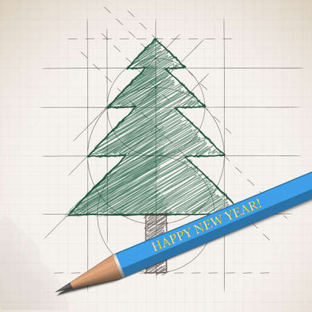 tree works: Sketch drawing of Happy New Year. Pictured Christmas tree. The process works by the artist. Vector illustration. Illustration