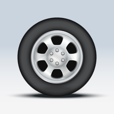 Wheel disk of car. Crome metal and tires. Vector illustration, premium design. Isolated on background. Stock Vector - 24028938