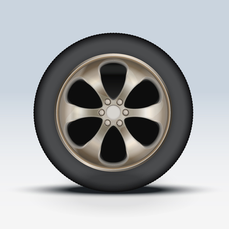 Wheel disk of car. Crome metal and tires. Vector illustration, premium design. Isolated on background. Vector