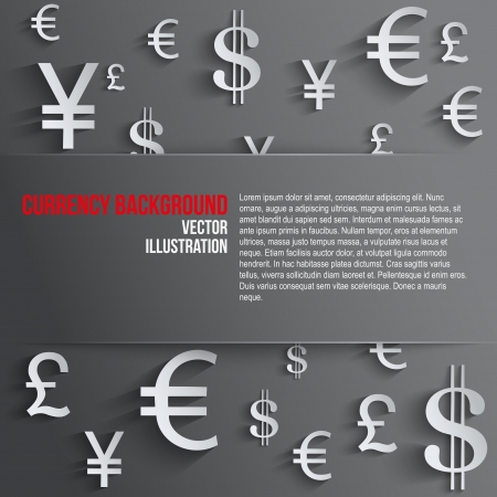 currency: Currency symbol with space for text. Background about the money and the exchange rate. Business vector Illustration, isolated and editable. Illustration