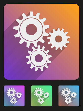 Basic mechanic gears simple Flat icon set for Web and Mobile Application. Illustration of technology. Vector, editable and isolated. Stock Vector - 24502367