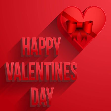 Background with beautiful heart and Happy Valentines Day Card. Vector illustration. Editable and isolated. Love theme. Vector