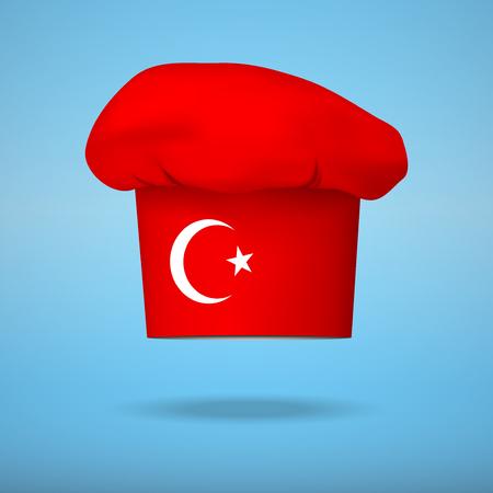fine cuisine: Tappo Chef con la bandiera della Turchia. Illustrazioni vettoriali sulla cucina tradizionale di diversi paesi. Vettoriali