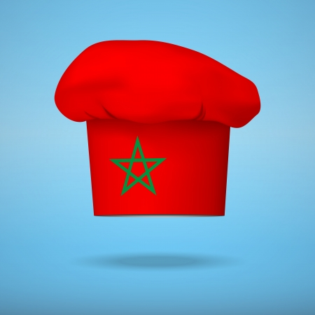 gastro: Chef cap with the flag of Morocco. Vector illustrations on the traditional cuisine of different countries.