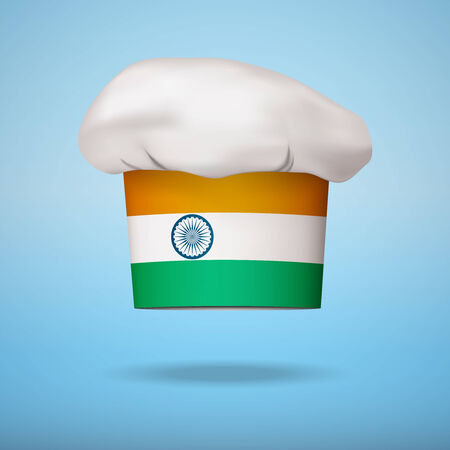 indian professional: Chef cap with the flag of India. Vector illustrations on the traditional cuisine of different countries. Illustration