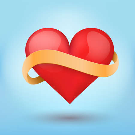 Background symbol beautiful red heart and yellow ribbon. Vector illustration. Love or medicine theme. Editable and isolated. Stock Vector - 24899452