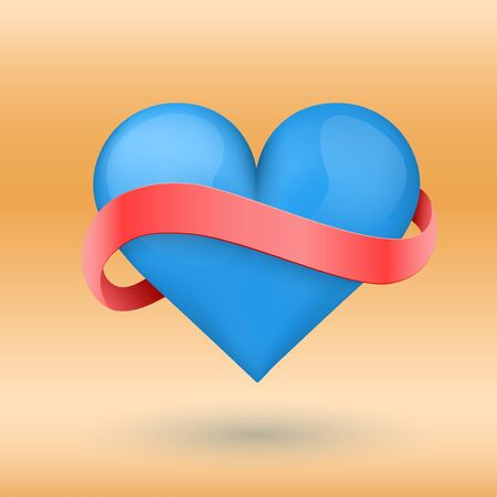 Background symbol beautiful blue heart and red ribbon. Vector illustration. Love or medicine theme. Editable and isolated. Stock Vector - 24899454