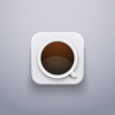 Realistic Coffee Cup Icon for Web or Application.  Vector Illustration, editable and isolated. Vector