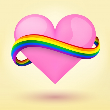 bisexuality: LGBT pink heart and rainbow ribbon