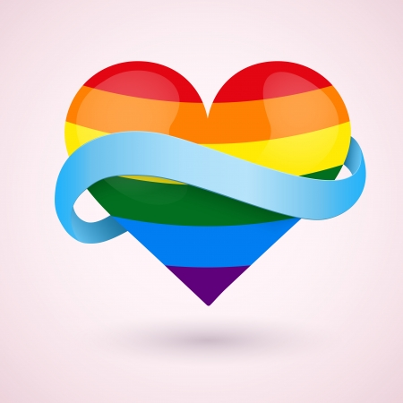 bisexuality: LGBT rainbow heart and blue ribbon Illustration
