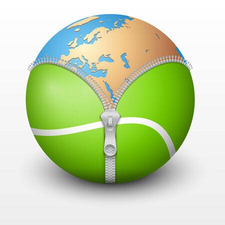 Planet Earth inside tennis ball. Vector sport Illustration. Isolated. Vector