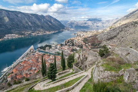 middle ages boat: View of Bay of Kotor old town from Lovcen mountain. Montenegro Stock Photo