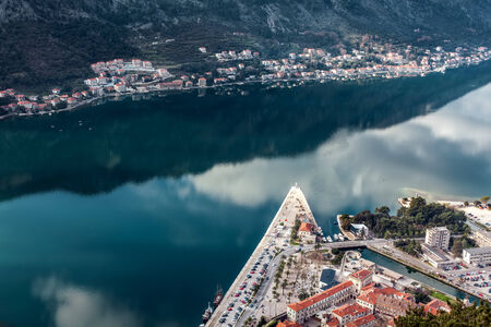 View of Bay of Kotor old town from Lovcen mountain. Montenegro. Kotor is part of the unesco. photo