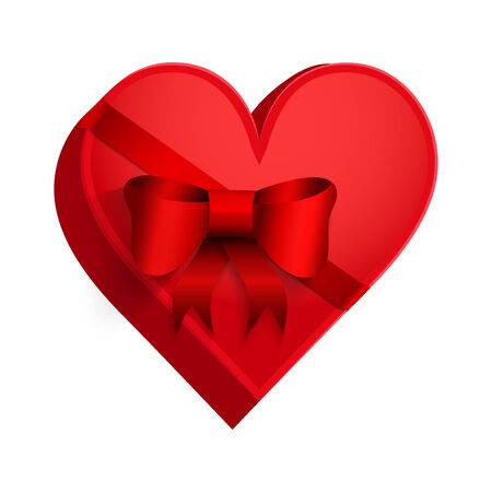 Gift box with red ribbon in the form of heart. Happy Valentines Day Card.