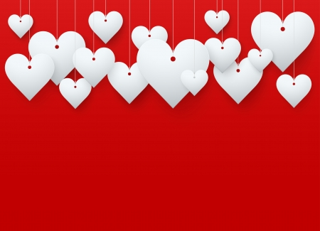 Background beautiful red heart on white paper with spase for text. Card for romance and Valentine`s Day. Stock Photo