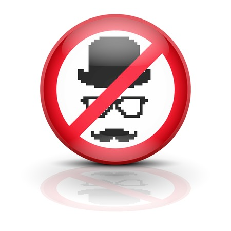 Anti spyware icon symbol illustration. Sign ban wiretapping, surveillance and espionage. Prohibited surveillance. Stock Illustration - 25474843
