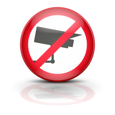 Anti spyware icon symbol illustration. Sign ban wiretapping, surveillance and espionage. Prohibited surveillance. Stock Illustration - 25474844