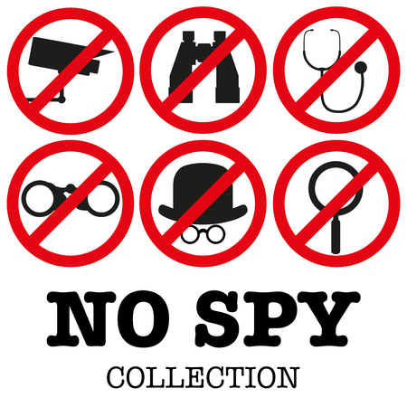 prosecution: Collection of signs prohibiting surveillance. No supervision, no prosecution, no spyware. Vector illustration, editable and isolated.