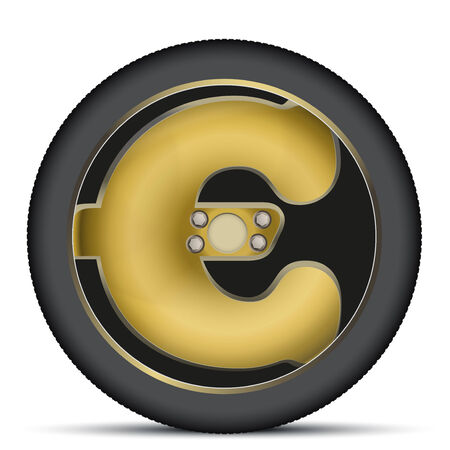 automotive industry: Wheel disk of gold euro sign. Financial symbol automotive industry. Isolated on background. Stock Photo