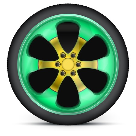 Wheel disk of sports racing car. Multicolor metal and exlusive painting. Illustration, premium design. Isolated on background. illustration