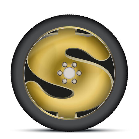 Wheel disk of gold dollar sign. Financial symbol automotive industry. Isolated on background. photo