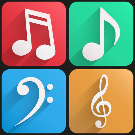 Basic sound musical Flat simple icon set with long shadow effect in stylish colors of web design objects. Vector, editable and isolated.