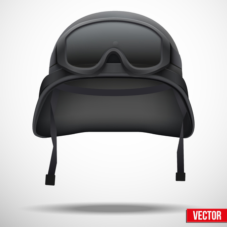 survivor: Military black helmet and goggles vector illustration. Metal army symbol of defence. Isolated on white background. Editable. Illustration