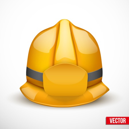 public servants: Gold firefighter helmet vector illustration. Space for badge or  emblem. Isolated and editable.