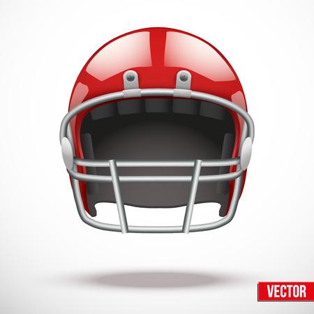 casco rojo: Realista casco de fútbol americano. Vector deporte ilustración. Equipo de protección de jugadores. Aislado en el fondo.