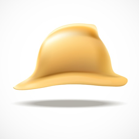 Side view of Retro Gold firefighter helmet vector illustration. Defense and protection. Isolated and editable.