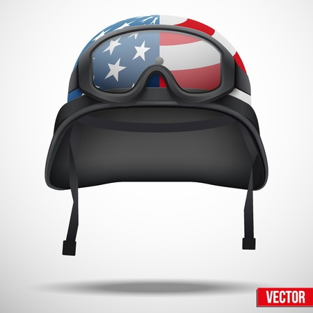 Military helmet and goggles with USA flag. Vector illustration. Metal army symbol of defense. Isolated on white background. Editable. Vettoriali