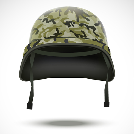 Military helmet with camouflage patterns. Vector illustration. Metallic army symbol of defense and protect. Isolated on white background. Editable. Vector
