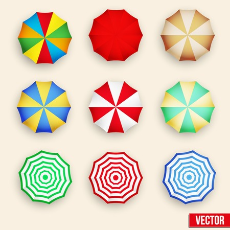 beach umbrella: Beach set symbols of sun umbrellas. Summer sunny parasol. Vector Illustration