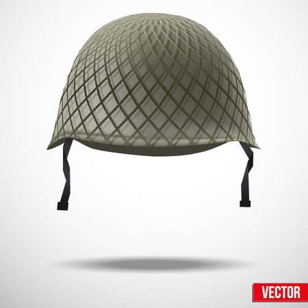 army soldier: Military classic helmet green color. Vector illustration. Metallic army symbol of defense and protect. Isolated on white background. Editable.