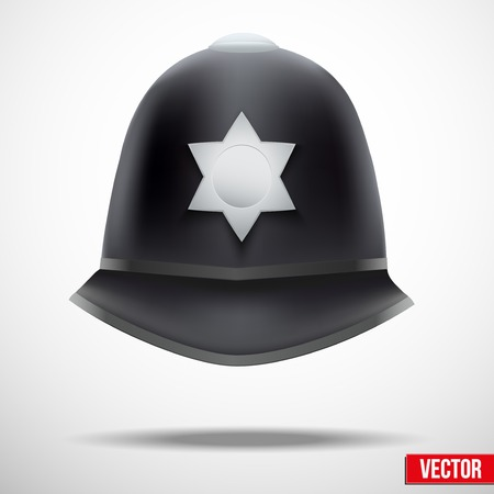 A traditional authentic helmet of metropolitan British police officers. Vector illustration. Vector