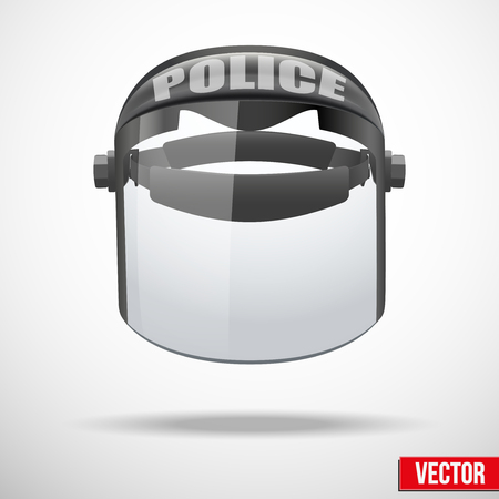department head: Police protect mask vector. Safe object. Vector illustration. Goggles glass symbol of defense and protection. Isolated on white background. Editable.