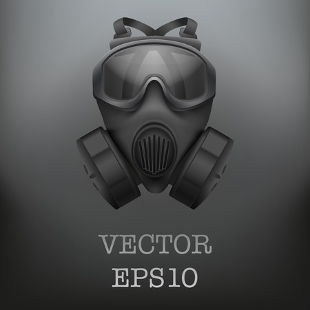 toxins: Background of Military black gasmask respirator. Vector illustration. Rubber army symbol of defense and protect. Isolated on white background. Editable.