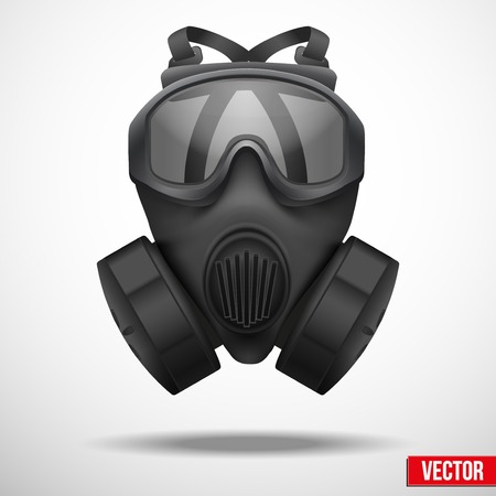 Military black gasmask respirator. Vector illustration. Rubber army symbol of defense and protect. Isolated on white background. Editable. Illustration